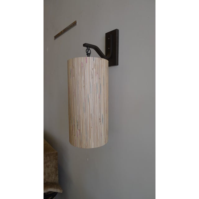 Modern Sconce with Custom Grasscloth Shade - Image 2 of 9