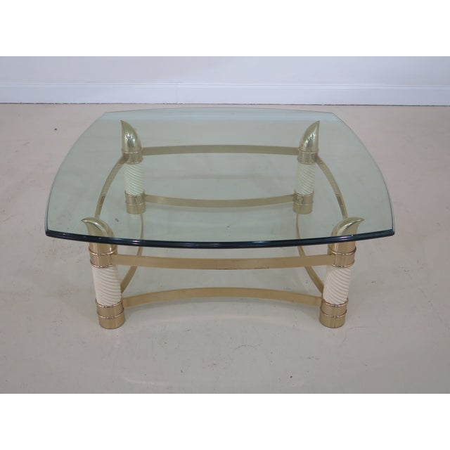 Modern Design Brass & Glass Coffee Cocktail Table Age: Approx: 20 Years Old Details: Made In Italy Nice Turned Legs &...