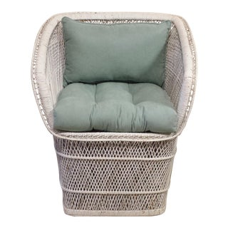 Vintage 1960s Wicker Buri Chair For Sale