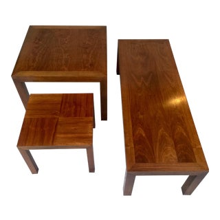 Mid-Century Walnut Nesting Tables and Parsons Coffee Table from Lane - Set of Three For Sale