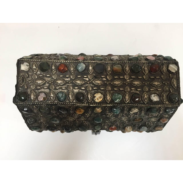 Large Moroccan Wedding Silvered Jewelry Box Inlaid With Semi-Precious Stones For Sale - Image 4 of 13