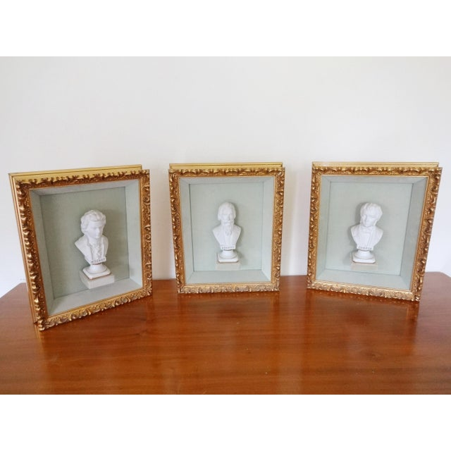 Wood Framed Bust Portraits of Classical Composers - Set of 3 For Sale - Image 7 of 13