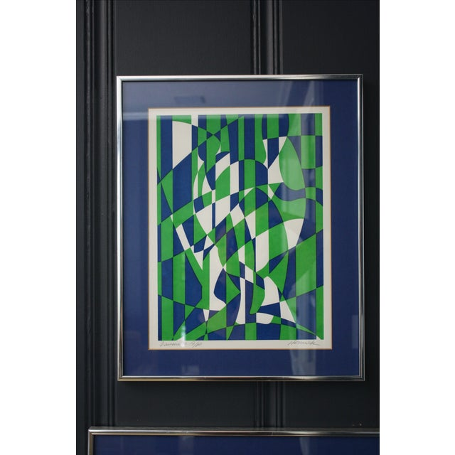 1970s Op Art Blue and Green Serigraphs - A Pair - Image 3 of 11