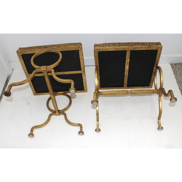 Metal Vintage Arbus Style Gilt Wrought Iron and Faux Leopard Low Stools - a Pair For Sale - Image 7 of 9