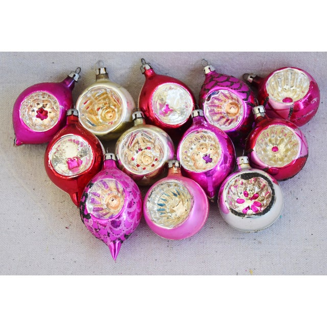 Mid 20th Century Pink & Red Vintage Colorful Christmas Tree Ornaments W/Box - Set of 12 For Sale - Image 5 of 10