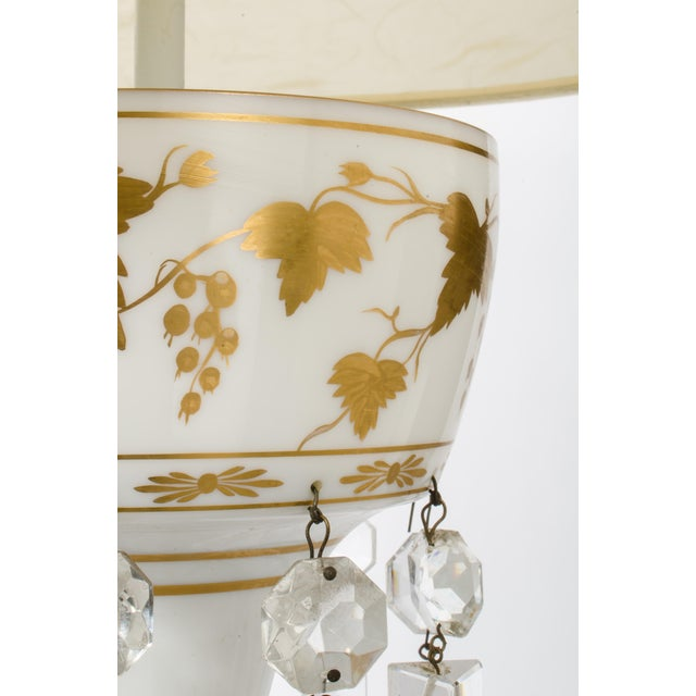 Metal White Glass Double Cluster Table Lamp For Sale - Image 7 of 11