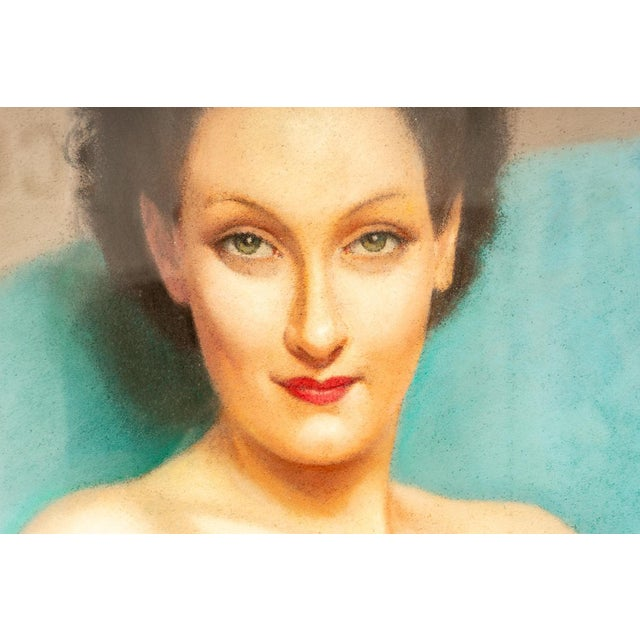 1920s 1920s Pastel Portrait Female Nude by Listed Artist Robert Louis Raymond Duflos For Sale - Image 5 of 8