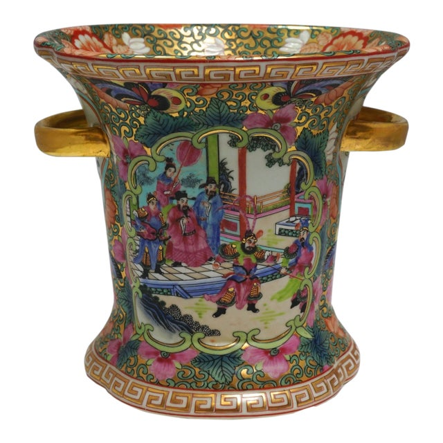 Vintage Chinese Rose Medallion Vase With Gold Handles For Sale