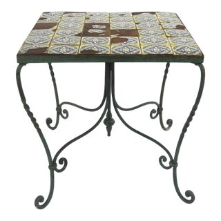 1930s Spanish Revival Tile Top Wrought Iron Side Table For Sale