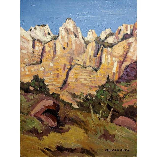 "Illustration Conrad Buff ""Rugged Cliffs Landscape"" Oil Painting For Sale - Image 3 of 9"