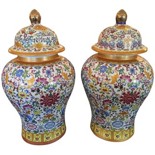 Pair of Vintage Doucai Pottery Ginger Jars For Sale