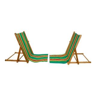 Mid-Century Modern Canvas Folding Beach Sand Chairs - a Pair Nantucket Vibe For Sale