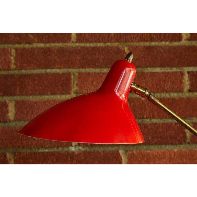 Metal 1950s Mid-Century Modern Boris Lacroix Red Table Lamp For Sale - Image 7 of 12
