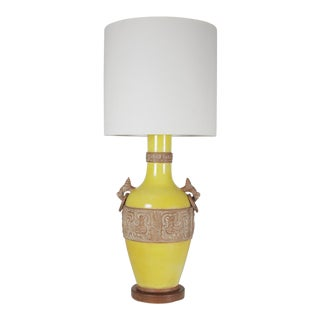 1960s Mid-Century Modern Aztec Style Yellow Table Lamp For Sale