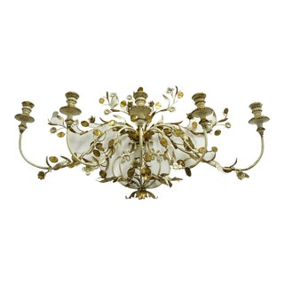 Vintage Italian Hollywood Regency Gold Gilt Iron Tole Metal 5 Arm Candelabra Wall Sconce For Sale