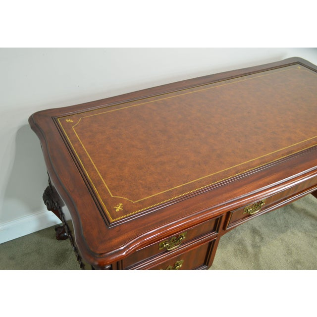 Brown Sligh Ellis Line Mahogany Chippendale Style Claw Foot Leather Top Executive Desk (D) For Sale - Image 8 of 13