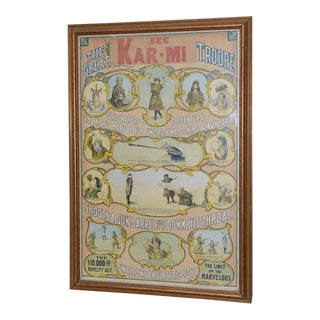 See the Great Kar-MI Troupe Antique Circus Poster C.1912
