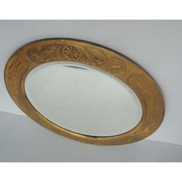 Giltwood Art & Crafts Aesthetic Movement Giltwood Round Mirror For Sale - Image 7 of 7