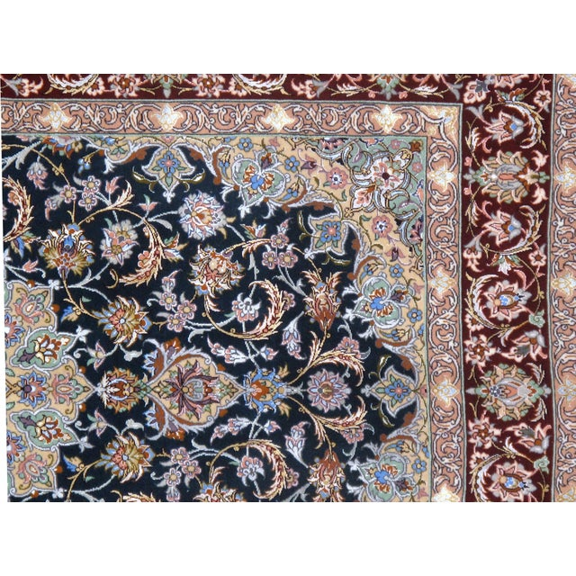 Pasargad Persian Isfahan Korker Wool & Silk Highlighted Rug - 3′8″ × 5′5″ For Sale - Image 4 of 5