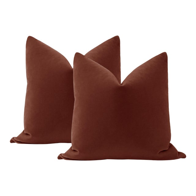 """22"""" Rouge Mohair Pillows - a Pair For Sale"""