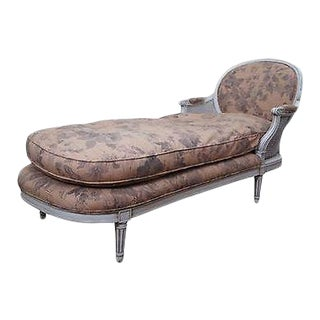 Quality French Louis XVI Style Painted Chaise Lounge For Sale