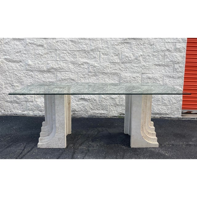 1960s Tobia Scarpa Style Italian Travertine and Glass Dining Table For Sale - Image 5 of 5