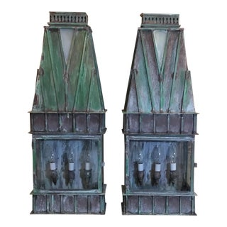 1980s Art Nouveau Architectural Brass Wall Hanging Lanterns - a Pair For Sale
