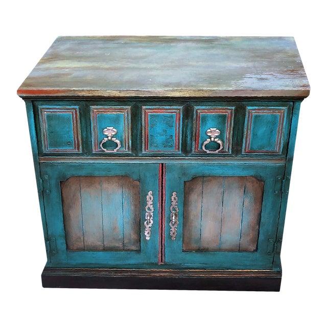 Patrick Briggs 'Blue' 2021 Refinished Wooden Nightstand Storage Credenza For Sale