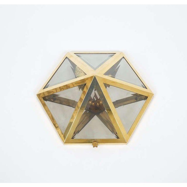 Art Deco Josef Hoffmann Set of 12 Brass and Glass Pyramid Flush Mounts Wall Lamp, 1900 For Sale - Image 3 of 7