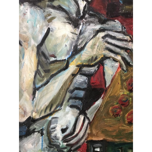 """1980s Vintage Original Painting Early Work of Paul Rinaldi """"Man Playing Checkers"""" For Sale - Image 5 of 10"""