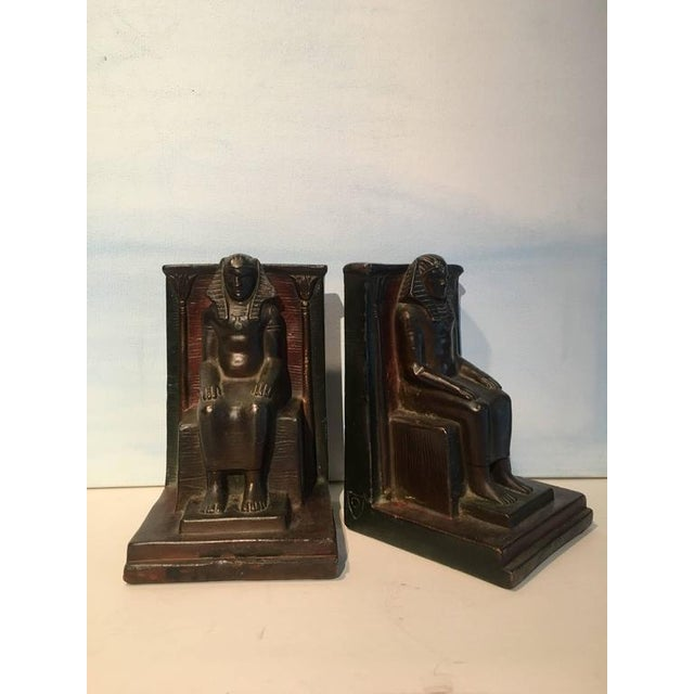 1970s Pair of Copper Egyptian Pharaoh Bookends For Sale - Image 5 of 5