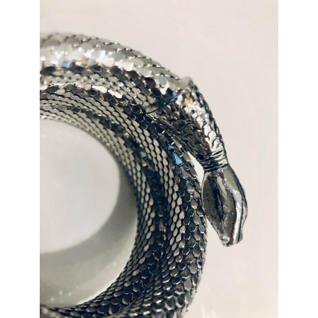 Mid-Century Modern 1980s Whiting & Davis Silver Mesh Three Coil Snake Bracelet For Sale - Image 3 of 6