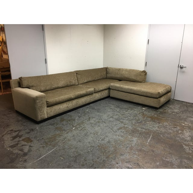Cisco Furniture Green Velvet Two Piece Sectional - Image 2 of 11