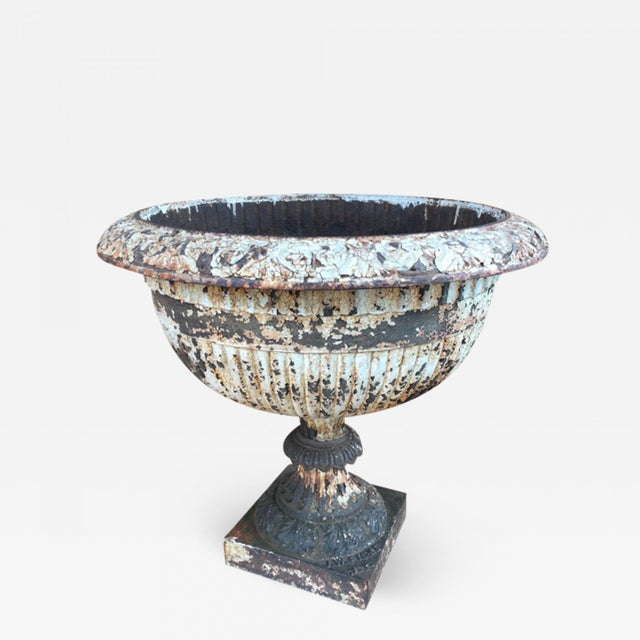 White 19th Century Neoclassical J.W. Fiske Cast Iron Urn For Sale - Image 8 of 8