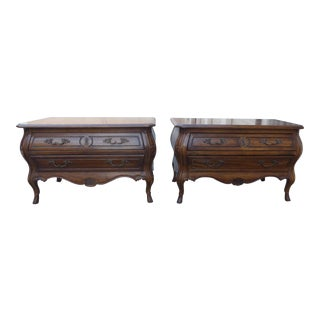 """Vintage Drexel Heritage """"Grand Tour"""" Ornate Bombe Bombay Nightstands - a Pair"""