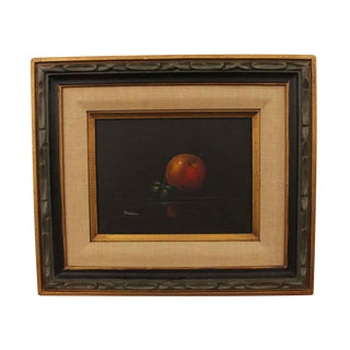 Signed Still Life with Fruit Framed Painting For Sale