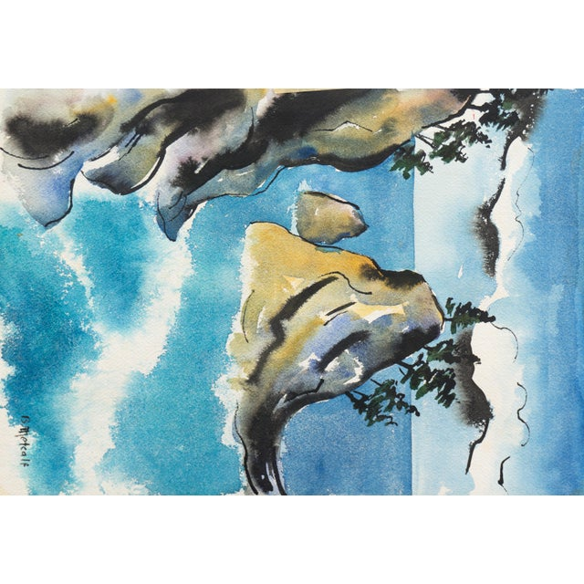 Watercolor 'Tropical Lagoon' by B. Metcalf, Impressionist Landscape With Palm Trees and Bougainvillea For Sale - Image 7 of 7