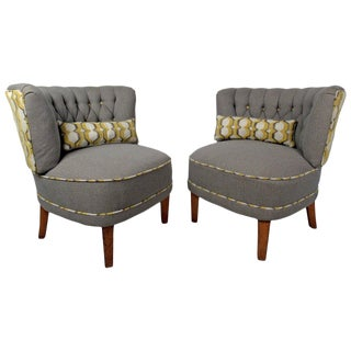 Contemporary Modern Slipper Chairs - A Pair For Sale