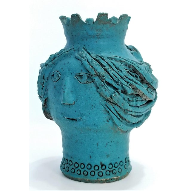1970s 1970s Studio Art Pottery Ceramic Sculpture Blue Vase by Maurice Grossman-Cubist Mid Century Modern Brutalist Boho Face Bust Abstract MCM Art Deco For Sale - Image 5 of 13