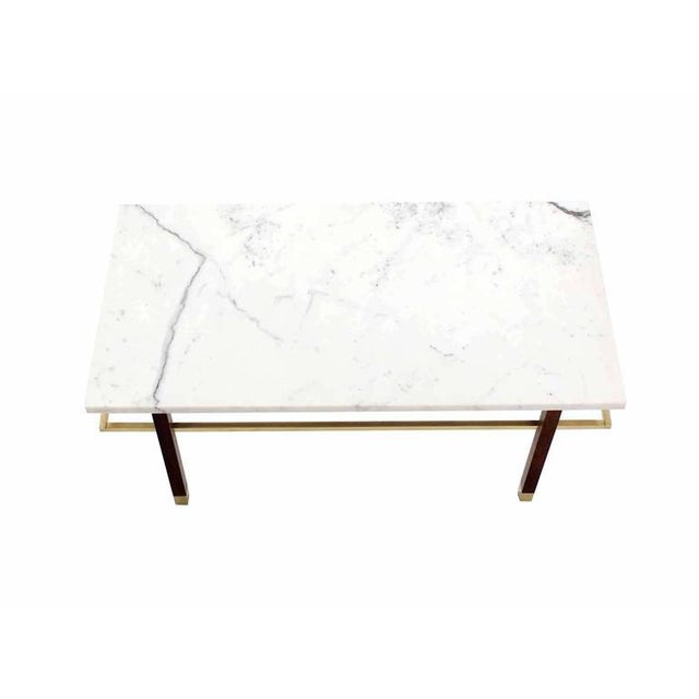Brass Harvey Probber Marble Top Rectangular Coffee Table w/ Brass Rectangular stretche For Sale - Image 7 of 7