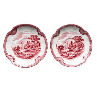 Red and White English Ceramic Saucers or Catchall Plates by Johnson Brothers For Sale