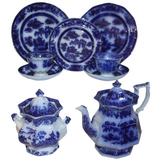 "Flo-Blue Collection of 9 Piece Matching ""Formosa"" Tea Set For Sale"