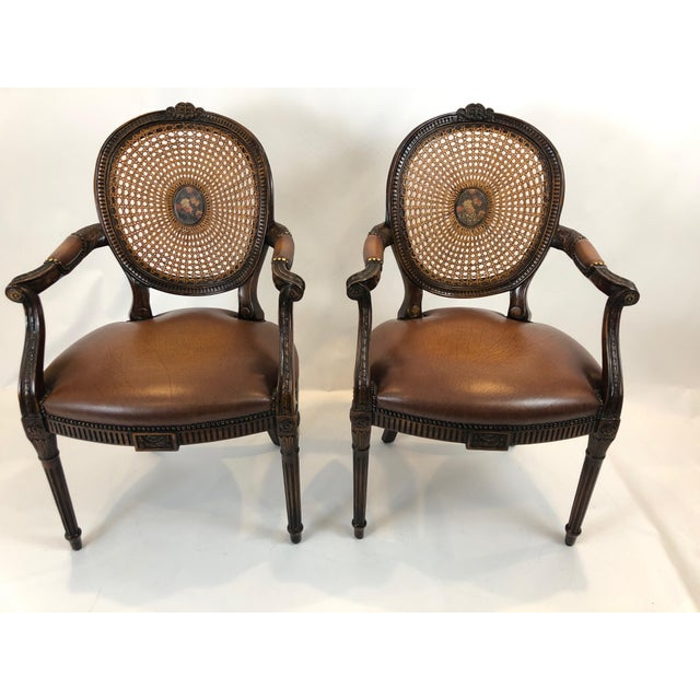 Caned and Cameo Back Armchairs - a Pair For Sale - Image 13 of 13