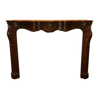 Hand Carved Oak French Provincial Mantel For Sale