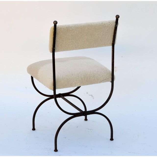 Gilbert Poillerat Exceptional Wrought Iron and Sheepskin Side Chair by Gilbert Poillerat For Sale - Image 4 of 10
