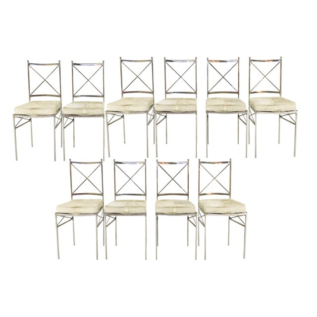 Forsyth One of a Kind Mid-Century Swedish Polished Steel Dining Chairs With Custom Ivory Cowhide Cushions - Set of 10 For Sale - Image 11 of 11