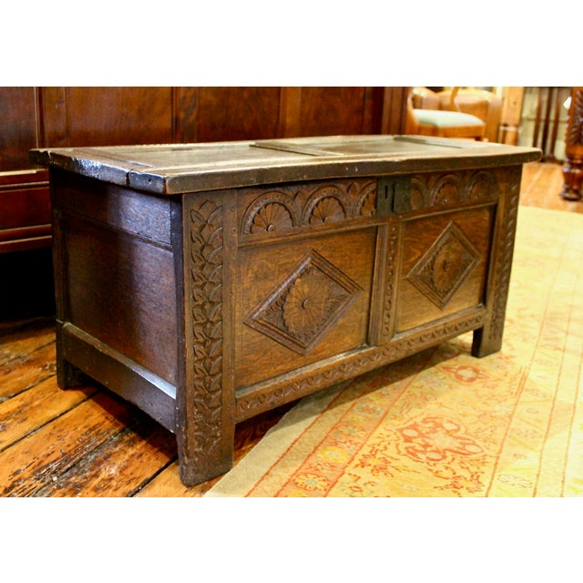 English Oak Coffer For Sale - Image 4 of 4