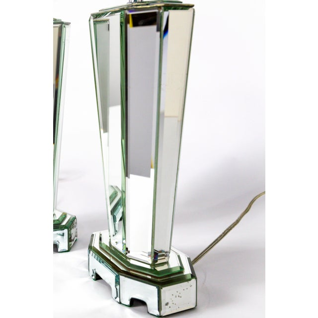 Modern Beveled Mirror & Chrome Lamps W/ Deco Finials - a Pair For Sale - Image 10 of 13