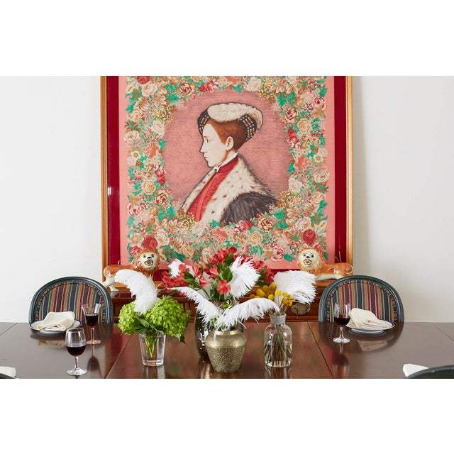 Framed Kenzo Takada Silk Mille-Fleur Painted Scarf For Sale - Image 4 of 13