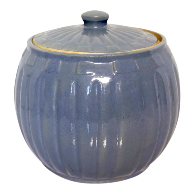 1930s Vintage Watt Pottery Blue Squares Covered Casserole Dish For Sale